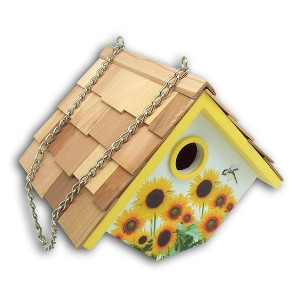 Home Bazaar Printed Wren Hanging Birdhouse - Sunflowers