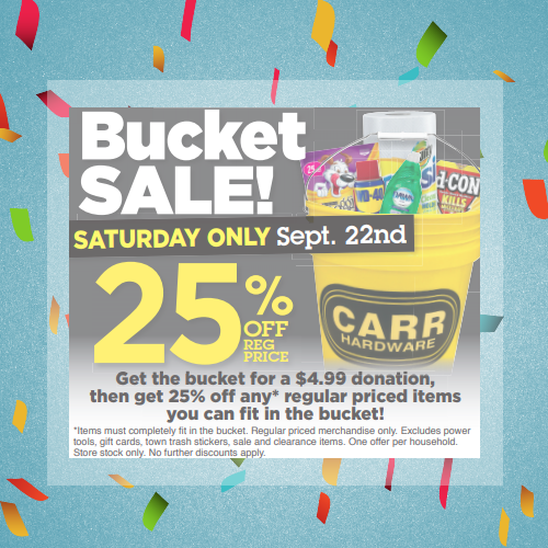 Bucket Sale to benefit the Simon Foundation