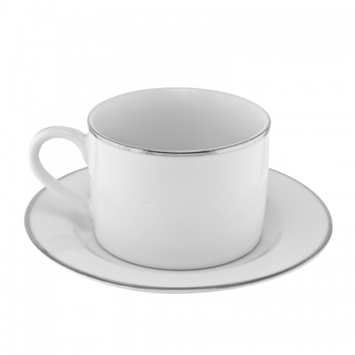 Coffee Cup (White w/ Silver Trim)