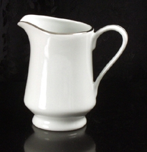 Creamer Pitcher (White w/ Silver Trim)