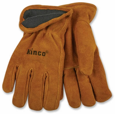 Full-Suede Cowhide Leather Gloves, Lined, Medium