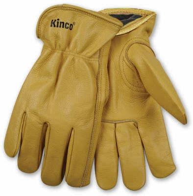 Men's Lined Cowhide Leather Gloves, Medium