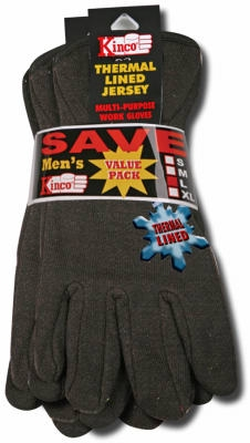 Jersey Glove, Poly/Cotton, Brown/Red, Lined, Men, Large, 2-Pk.