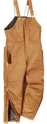 Insulated Bib Overalls, Short Fit, Brown Duck, Men's Medium