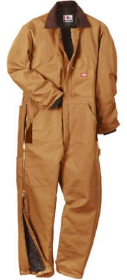 Insulated Coveralls, Short Fit, Brown Duck, Men's Medium