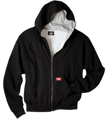 Thermal Fleece Jacket, Hooded, Black, Men's Medium