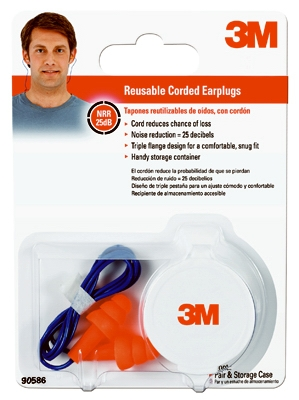 Corded Reusable Earplugs, NRR 25DB