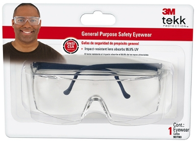 Tekk Protection Safety Glasses, Black Frame/Clear Lens