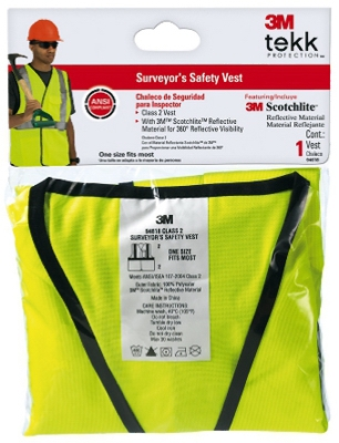 Tekk Protection Surveyor's Safety Vest, Class 2, Hi-Viz Yellow