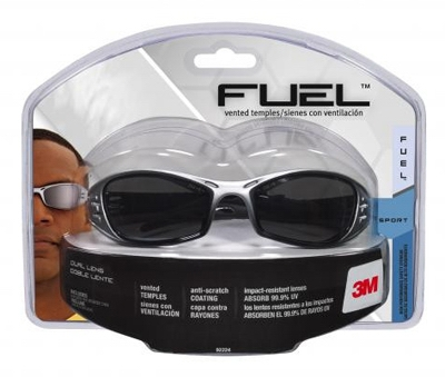Fuel Sport Safety Glasses, Silver/Black With Grey Mirror Lens