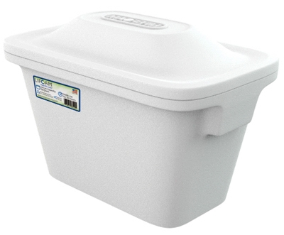 Ice Chest Cooler with Molded Side Carry Handles, Styrafoam, 28-Qt.