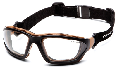 Carthage Safety Glasses, Clear Lens/Black & Tan Frame