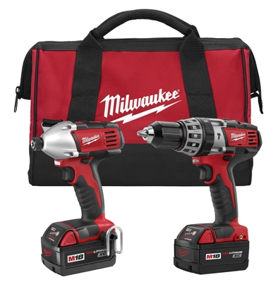 M18 2-Tool Cordless Lithium Ion Combo Kit, Hammer Drill/Driver, 1/2-In.