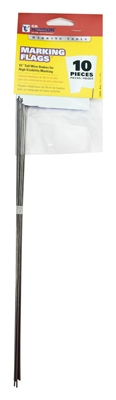 Marking Stake Flag, White, 15-In., 10-Pk.