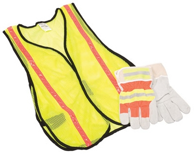 Safety Vest & Glove Combination Kit, Hi-Viz