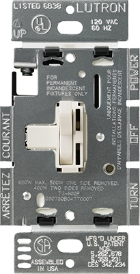 Toggler 600-Watt 3-Way Dimmer, Light Almond