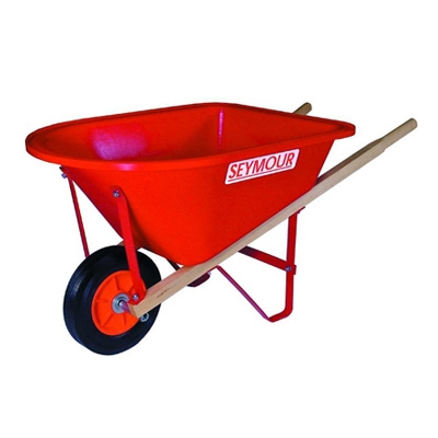 Junior Wheelbarrow, Red Poly, 31-In. Hardwood Handles
