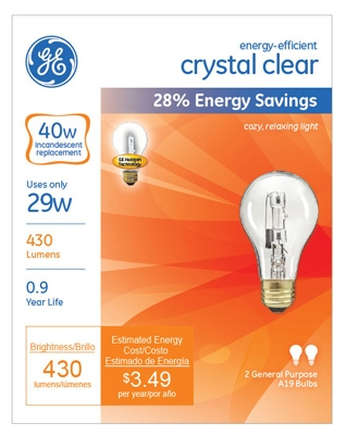Halogen Light Bulbs, A19, Clear, 29-Watt, 2-Pk.