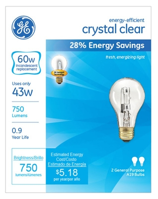 Halogen Light Bulbs, A19, Clear, 43-Watt, 2-Pk.