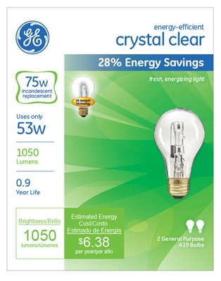 2-Pack 53-Watt Clear Halogen Light Bulbs