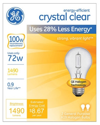 2-Pack 72-Watt Clear Halogen Light Bulbs