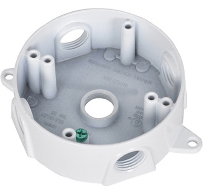 White Weatherproof Round Outlet Box