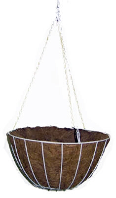 12-Inch White Growers Hanging Basket