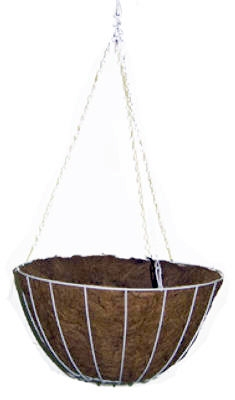 14-Inch White Growers Hanging Basket