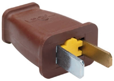 Polarized Plug, Residential, Brown, 2-Pole, 2-Wire, 15-Amp., 125-Volt