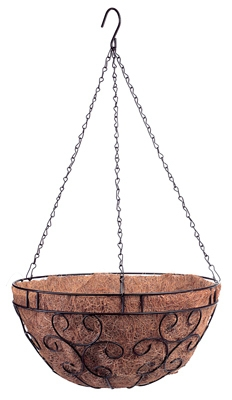 14-Inch Black Romantic-Style Hanging Basket