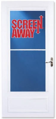 Screen Away Storm Door, Retractable Screen, White Aluminum & Nickel Handles, Solid Wood Core, 36 x 81-In.