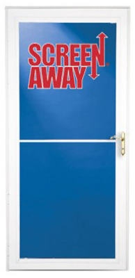 Screen Away Storm Door, Retractable Screen, White Aluminum & Brass Handles, 32 x 81-In.