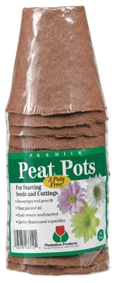 Peat Pot Pack, 3-In. Round Bonus, 15-Pk