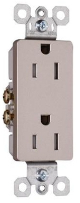 Decorator Tamper-Resistant Receptacle, Nickel Finish