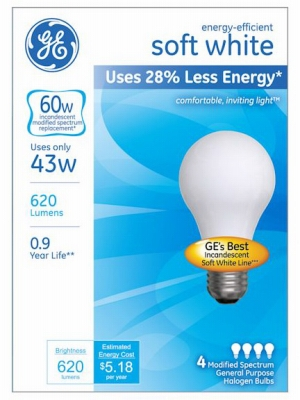 A-Line Halogen Light Bulb, Soft White, 43-Watt, 4-Pk.