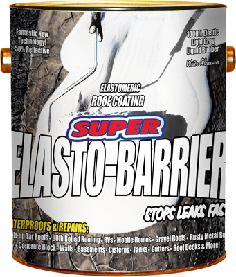 Super Elasto Barrier Rubber Roof/Deck Coating, Gray, 1-Gal.
