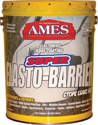 Super Elasto Barrier Rubber Roof/Deck Coating, Gray, 5-Gals.