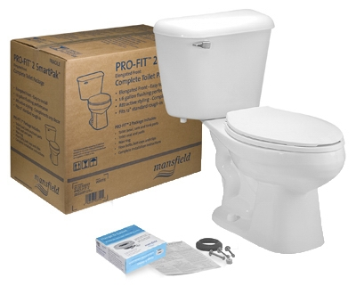 Complete Toilet Kit, Elongated Front, White, 12-In. Rough In