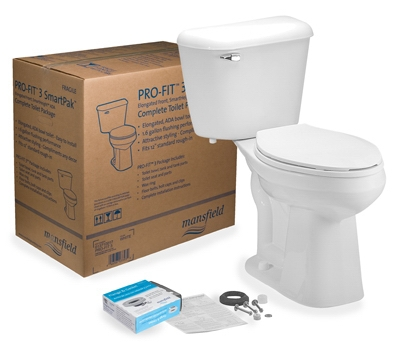 Complete Toilet Kit, Elongated Front, ADA Approved, White, 12-In. Round In