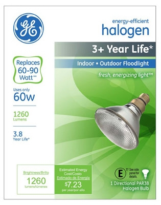 Flood Light Bulb, Halogen, Par 38, 60-Watt