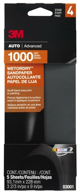 Sandpaper, Automotive, 1000 Grit, 3-2/3 x 9-In., 5-Pk.