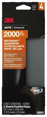Sandpaper, Automotive, 2000 Grit, 3-2/3 x 9-In., 5-Pk.