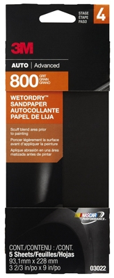 Sandpaper, Automotive, 800 Grit, 3-2/3 x 9-In., 5-Pk.