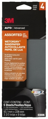 Wet/Dry Sandpaper, 5-Piece, 3-2/3 x 9-In.