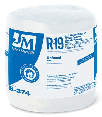 R19 Unfaced Fiberglass Insulation, 75.07 Sq. Ft. Coverage, 5.5 x 23-In. x 39' 2-In. Roll