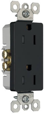 Child Safety Outlet, Black, 2-Pole, 15-Amp, 125-Volt