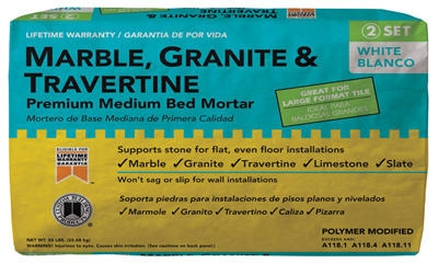 Marble/Granite-Fortified Premium Mortar, White, 50-Lbs.