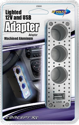 Car Triple-Socket Adapter With USB, Lighted, 12-Volt