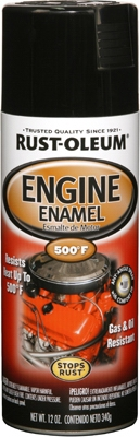 Engine Spray Enamel, Black Gloss, 12-oz.