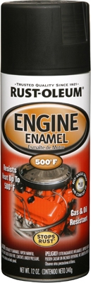 Engine Spray Enamel, Black Semi-Gloss, 12-oz.